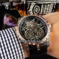 relógio double tourbillon venda por atacado-New Excalibur 45 Duplo Tourbillon Black Dial Esqueleto RDDBEX0397Automatic Mens Watch Rose Gold Vintage Esculpido Padrão Caso Leather Relógios