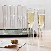 Wholesale wedding shot cups online - Double Champagne Glass double Glass Temperature Resistant Goblet For Wedding Party Bar Decoration Wine Cups Mugs GGA1846