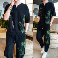 ingrosso uomini di bambù-New Fashion Spring Summer Set Uomo Casual Bamboo Printing Suit For Men Set di lino stile cinese T Shirt + Pants 5XL