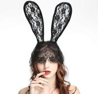 weibliche kopfmasken großhandel-Lace Bunny Ohr Stirnband Sexy Weibliche Kaninchen Ohren Haarband Schleier Maske Kopf Wrap Kaninchen Ohren Haarband Headwear