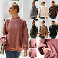 hoodies preppy toptan satış-Kadınlar Sherpa Fleece Kapüşonlular Tam Uzun Kollu Süveterler Kış Sıcak Peluş Cep Hoodie Sweatershirt Preppy Sonbahar LJJA3226-4 Tops