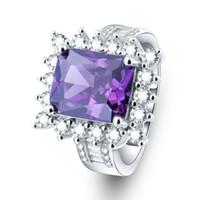 rote silberne kristalle großhandel-Klassische Vintage Royal Purple Kristall Ringe Für Frauen Großen Stein Silber Farbe Quadratischen Roten Stein Fingerring Für Männer Hochzeit Schmuck