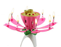 toppers de pastel de música al por mayor-Lotus Flower Music Candle Beautiful Blossom Lotus Flower Candle Fiesta de cumpleaños Cake Music Sparkle Cake Topper Envío gratis