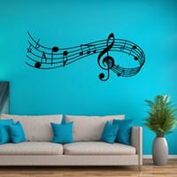 notas de música arte de la pared al por mayor-Música creativa calcomanía calcomanías de vinilo notas musicales etiqueta de la pared decoración para la sala de estar dormitorio y estudio de música Melody Art Mural