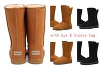 zapatos plateados negros al por mayor-2019 venta caliente botas de invierno de Australia botas de moda botines de mujer sobre la rodilla con caja de tobillo bota de piel de lazo corto envío gratis