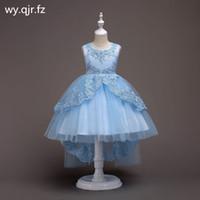 De Flor Azul Cielo Cortocircuito Bh584 Arco Del Cordón Vestidos De Niña Niños De Cola De Pescado Del Vestido De Boda Vestido De Fiesta Vestido De