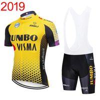 team-set trikots großhandel-2019 herren jumbo visma team radfahren clothing set bike jersey lätzchen shorts kits sommer schnell trocknend fahrrad kurzarm clothing y030601