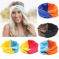 bükülmüş saç bantları toptan satış-Moda Kız Stretch twist Kafa Turban Patchwork Renk hairbands Spor Yoga Kafa Wrap Bandana Şapkalar Saç Aksesuarları 19 M490 tasarımları