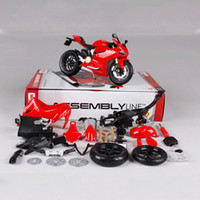 Wholesale maisto motorcycles resale online - 1 Maisto Ducati Motorcycle Toy Alloy Assembled Motor Car Vehicle Building Kits Toys For Children J190525
