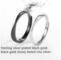 design de anel casal negro venda por atacado-S925 anel de casal de prata esterlina simples torcida Design de abertura anel preto e branco elegante anel de noivado de ouro preto galvanizado