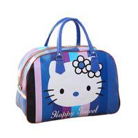 кожаные кубики оптовых-Женщины искусственная кожа дорожная сумка симпатичные Hello Kitty упаковка кубики вещевой мешок организатор камера аксессуары ночь выходные сумка
