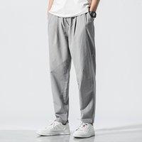 pantalones de lino estilo de los hombres al por mayor-Estilo chino Pantalones de lino de algodón sólido Hombres Cintura elástica Pantalones deportivos Pantalones de chándal Pantalones de joggers de hip hop para hombre Pantalones 5XL