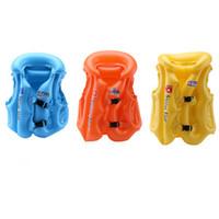 ingrosso giacche gonfiabili per bambini-Kid Safety Float Gilet di nuoto gonfiabile Giubbotto di salvataggio Nuoto gonfiabili Stoma multipla Perdita d'aria Lette Forte tenuta ZZA725