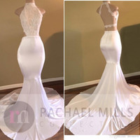 Wholesale yellow cut back prom dress for sale - Group buy 2019 Sexy Backless Prom Dresses Sleeveless High Neck Side Cut Gold Sweep Train Formal Evening Dresses Formal Gowns for Pageant Event