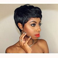 Wholesale women's short wigs resale online - Short Black Pixie Cut Hair Natural Wigs For Black Women Heat Resistant Black Wig Women s Fashion Wig