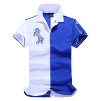 camisas de golf de diseño al por mayor-Camiseta de diseñador de alta calidad suave y cómoda para hombre golf manga corta polo camisetas polo azul con diseño de bordado