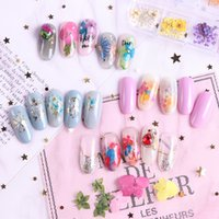 Dried Flowers Nail Decorations Jewelry Natural Floral Leaf Stickers 3D Nail Art Decals Polish Manicure Accessories RRA2451
