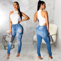 cintura fina para mulheres venda por atacado-Mulheres Washed Hole Jeans Designer De Moda De Cintura Alta Skinny Meninas Slim Azul Womens Rasgado Calças