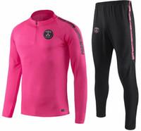 rosa trainingsanzugjacke großhandel-PSG pinker trainingsanzug juve Marseille Paris fußball trainingsanzug Real Madrid trainingsanzug 2018 2019 MBAPPE LUCAS Lederjacke-Set