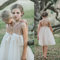 Wholesale girls wedding party pageant for sale - Group buy Spaghetti Sequines Flower Girl Dress Cheap Short Princess A Line Girl Pageant Party Gown Girls Formal Party Dress Big Bow