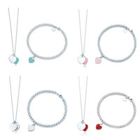 Original 100% 925 Sterling Silver Fashion Classic DIY Love Necklace Bracelet Set Multicolor Optional Woman Jewelry Free Shipping