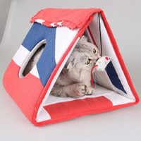 Wholesale red play tent for sale - Group buy Pet Cat House Removable Pet Tent Cat Kennel Play Tunnel Oxford Red blue white stripes Foldable Portable durable WLYANG