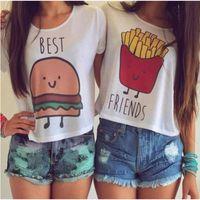 camisetas de algodón blanco telas al por mayor-Alta calidad camiseta de verano manga corta mejor amigo impresa tops de algodón tela de confort comida divertida imprimir tops blancos