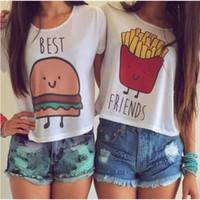 lustige stoffe großhandel-Hochwertiges Damen T-Shirt Sommer Kurzarm bester Freund bedruckte Baumwollspitzen Komfortstoff lustiges Essen Druck weiße Oberteile