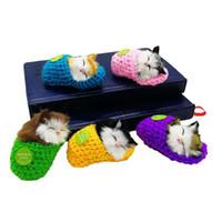 Wholesale cat plush slippers resale online - Plush Slipper Sleep Cat Toys Mini Pet Catnip Sound Interactive Funny Dolls Kids Animal Desktop Car Home Decoration