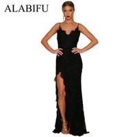 askısız dantel mini gelinlik toptan satış-ALABIFU Yaz Elbise Kadınlar 2019 Seksi Straplez Uzun Parti Elbise Düğün Gelinlik Maxi Dantel Elbise Siyah / Kırmızı Vestidos Ukrayna
