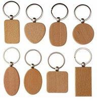 chaveiros gravados personalizados venda por atacado-Coração em branco de madeira Chaveiros DIY personalizado gravado Key Madeira pingente anel de Keychain quadrado forma redonda Personalizar HHA867
