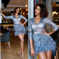 Wholesale long prom dresses feathers for sale - Group buy 2019 A line short Prom Dresses long Sleeve sequined Evening Dress with tired feather skirts Robe De Soiree custom made Party Gowns