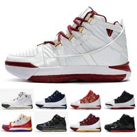 lowest price 07ec7 6bfcc Cheap new lebron 3 basketball shoes White Red Maroon Floral SuperBron Black  Bred high cut youth kids lebrons 16 sneakers tennis