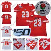 футбольные пластыри оптовых-2019 Rose Bowl Висконсин Барсуки Футбол Jersyes Джонатан Тейлор колледжа Джерси Home Away Белый Красный с NCAA сто пятидесятый Patch