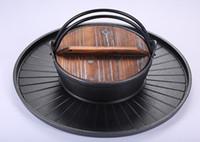 ingrosso pentole in ghisa-46cm commerciale hotel casa ghisa grill + zuppa pentola di montone hotpot barbecue Bbq friggitrice padella pan doppio 051-2
