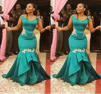 afrikanische jade großhandel-Atemberaubende Jade Aso Ebi Afrikanische Meerjungfrau Abendkleid Formelle Kleider mit Kappe Kurzarm Satin Meerjungfrau geraffte lange billige Prom Pageant Kleid
