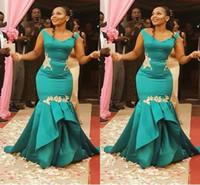 vestido bainha de linho venda por atacado-Impressionante Jade Aso Ebi Africano Vestido de Noite Sereia Vestidos Formais Com Cap Mangas Curtas Sereia De Cetim Ruched Longo Prom Vestido Pageant Prom