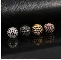 disco ball perlen verkauf großhandel-Heißer verkauf CZ Messing Metall Micro Pave Zirkonia Disco Ball Runde Perle Spacer Perlen Für Schmuck Machen DIY Armband