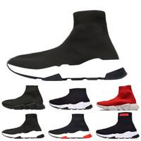 erkekler moda çorapları toptan satış-2019 Yeni Arrivlas tasarımcıları Moda Luxurys Kadın Erkek Speed Trainer kapalı Kırmızı Üçlü Siyah Düz Rahat ayakkabılar Çorap Çizmeler Mens ayakkabı