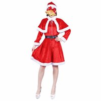 Wholesale movie costumes for ladies for sale - Lady For Adult Cosplay Hat Dress Belt Women Christmas Dress Sweet Miss Santa Claus Costume