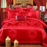 gold satin tröster großhandel-FUNBAKY 4 teile / satz Satin Jacquard Seide Tröster Luxus Bettwäsche-sets Baumwolle Bettbezug Set Bettwäsche Hochzeit Heimtextilien