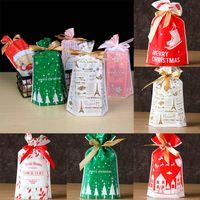 bolsas de galletas al por mayor-Bolsas de regalos de navidad con cordón Bolsas de dulces Favor de fiesta Bolsa de galletas para regalo de fiesta de navidad Decoración de año nuevo DHL WX9-1556