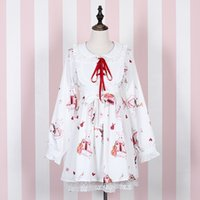 Wholesale sweet lolita cosplay online – ideas Womens Lolita Dress Doll Collar Maid Dress Chiffon Sweet Printed cosplay Dress