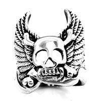 cruzar las alas del cráneo al por mayor-FANSSTEEL acero inoxidable vintage para hombre o wemens joyas ALAS CROSS BONE Skull Biker número de ANILLO FSR11W72
