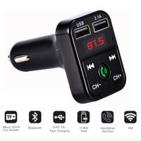 mikro araçlar toptan satış-CARB2 Bluetooth Araç Kiti MP3 Çalar Ile Handsfree Kablosuz FM Verici Adaptörü 5 V 2.1A USB Araç Şarj B2 Destek Mikro SD Kart