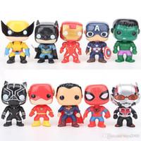 ingrosso personaggi super eroi-FUNKO POP 10 pz / set DC Justice action figures Lega Marvel Avengers Personaggi Super Hero Modello Vinile Action figures giocattolo per bambini