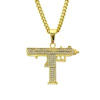 Wholesale gun shape pendant resale online - Hip Hop GUN Shape Pendant Necklace Fashion Cubic Zirconia Long Cuban Link Chain Necklace for Women men Gifts Jewelry FS30