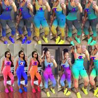 Wholesale women sheer yoga pants for sale - Champions Print Women Gradient Tracksuit Piece Set Outfit Sleeveless Tank Top Vest Tights Leggings Pants Summer Sportswear S xl A41203
