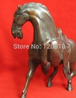 estatuas antiguas de caballos de bronce al por mayor-NUEVO + SCY Rare Asian Antiques Bronce Estatua Caballo