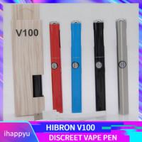 diseños de batería de pluma vape al por mayor-Auténtico Hibron V100 VAPE Batería 650 mAh Precalentamiento Voltaje variable Vape Pen discreto con cargador USB Nuevo modo de batería Diseño original